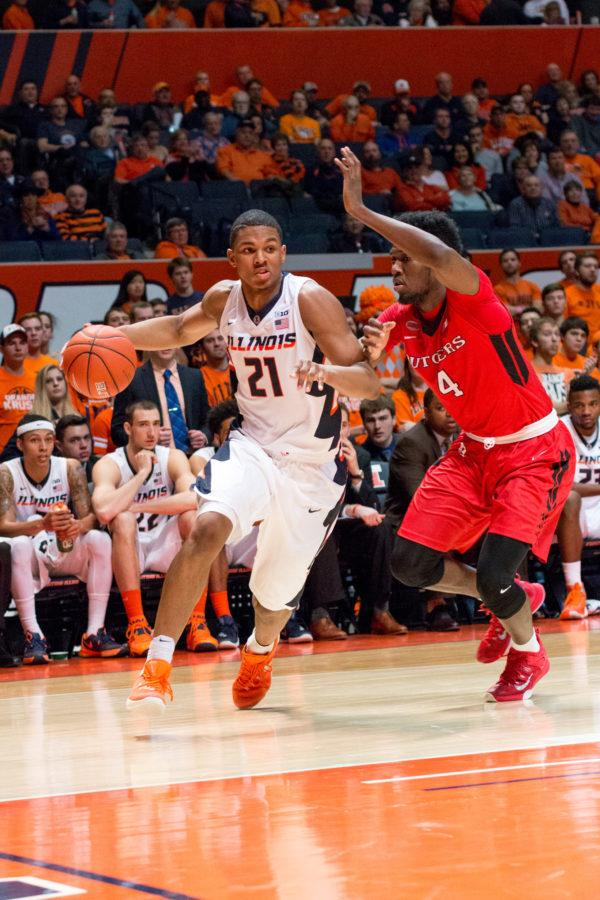 Illinois' Malcolm Hill drives to the basket during the game against Rutgers at the State Farm Center on Feb. 17. The Illini won 82-66.