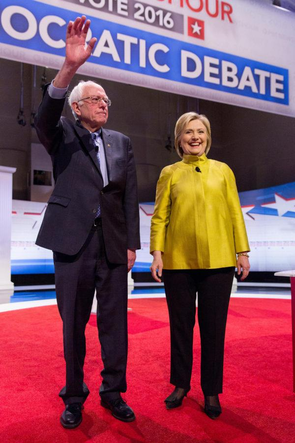 Democratic+presidential+candidates+Bernie+Sanders%2C+left%2C+and+Hillary+Clinton+arrive+on+stage+ahead+of+the+start+of+the+PBS+NewsHour+Democratic+presidential+debate+in+Milwaukee+on+Thursday%2C+Feb.+11%2C+2016.+%28Daniel+DeSlover%2FZuma+Press%2FTNS%29