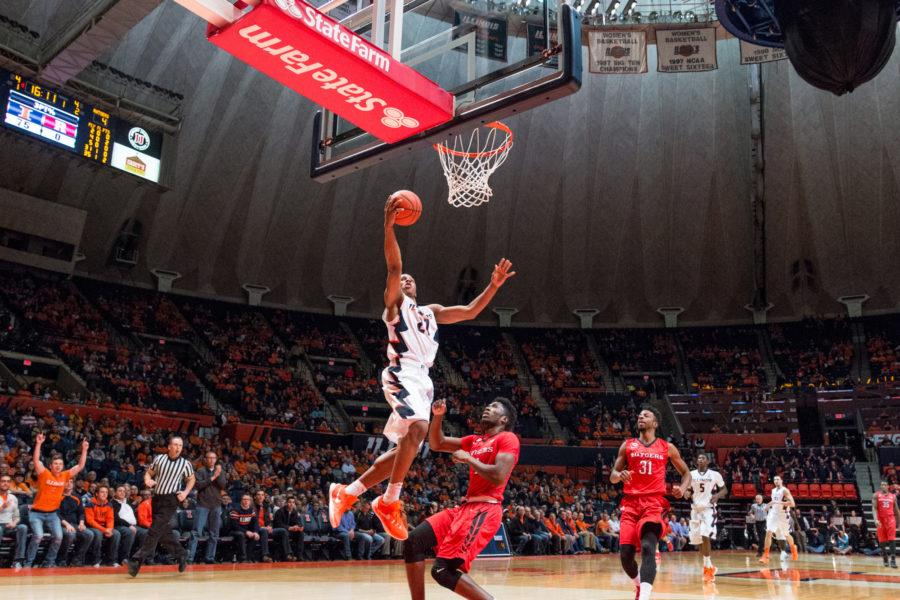 Illinois' Malcolm Hill takes a layup off a fast break during the game against Rutgers at the State Farm Center on February 17. The Illini won 82-66.