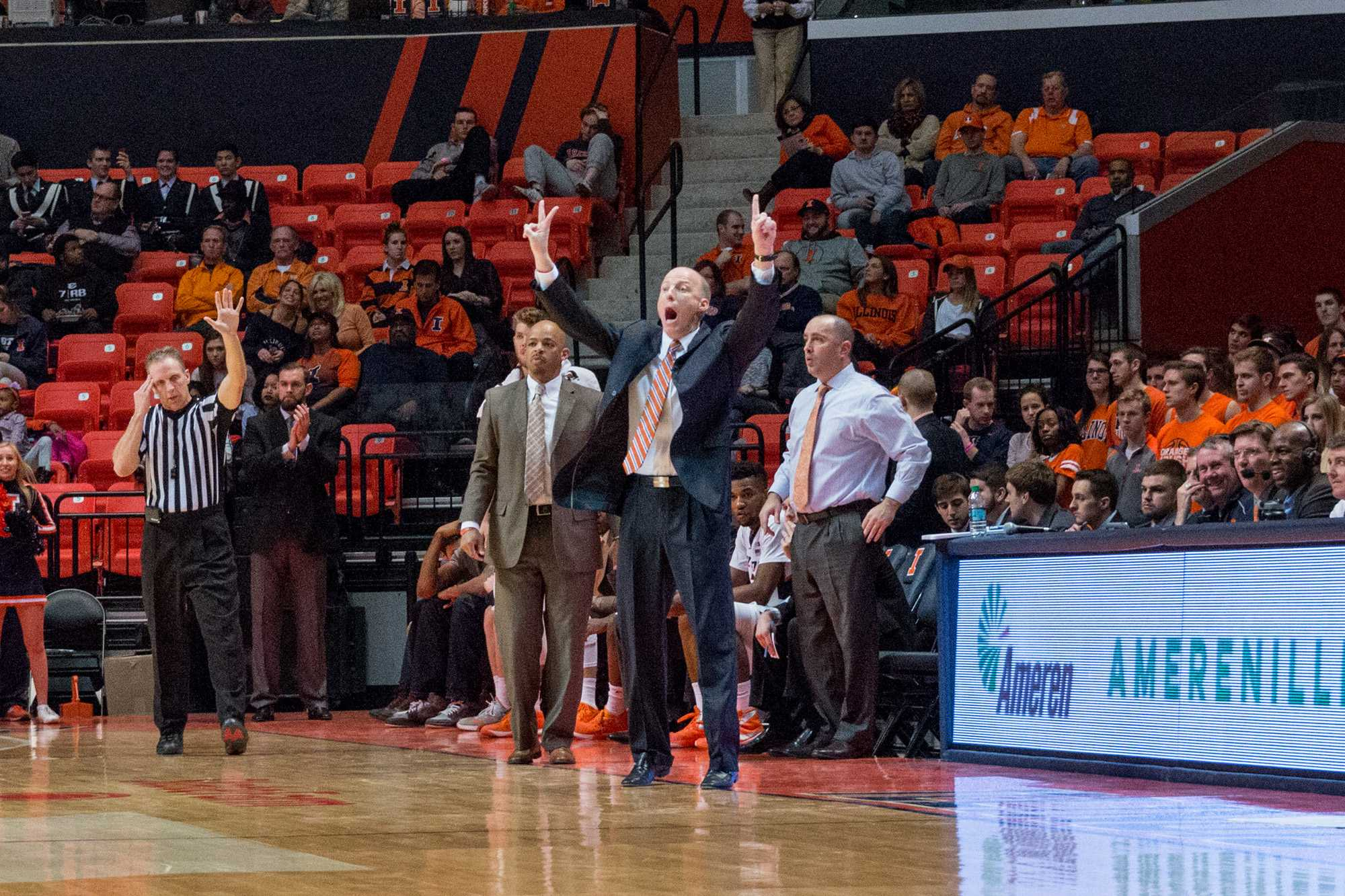 Illinois head coach John Groce calls out a play during the game against Rutgers at the State Farm Center on February 17. The Illini won 82-66.