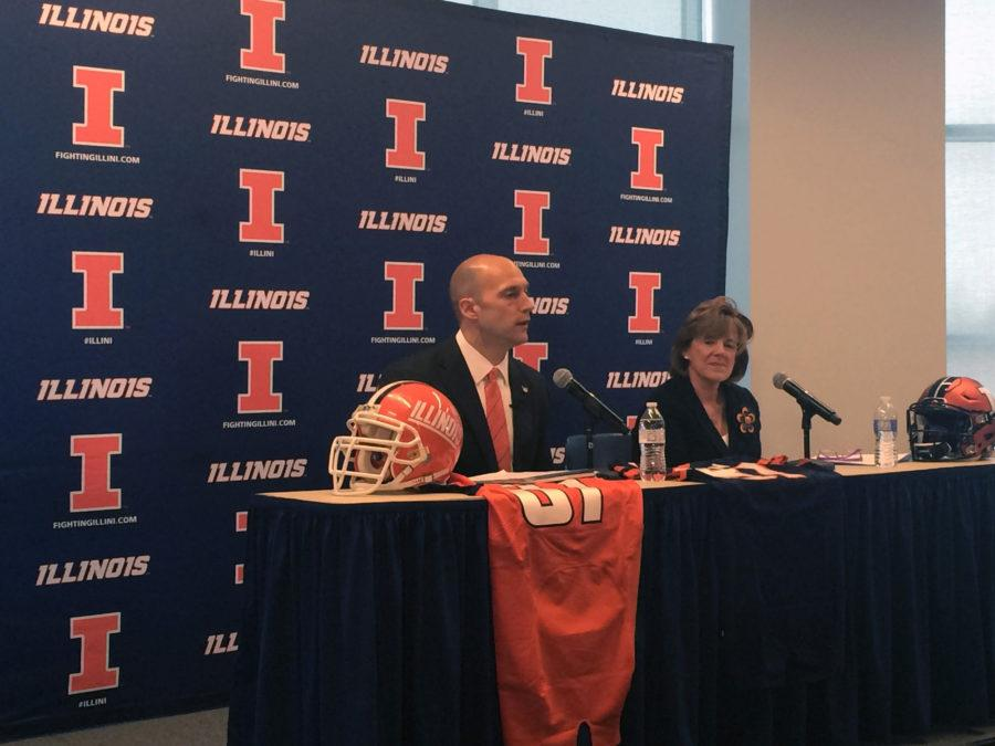 New+Illinois+Athletic+Director+Josh+Whitman+speaks+to+the+media+during+his+introductory+press+conference+on+Feb.+18.+
