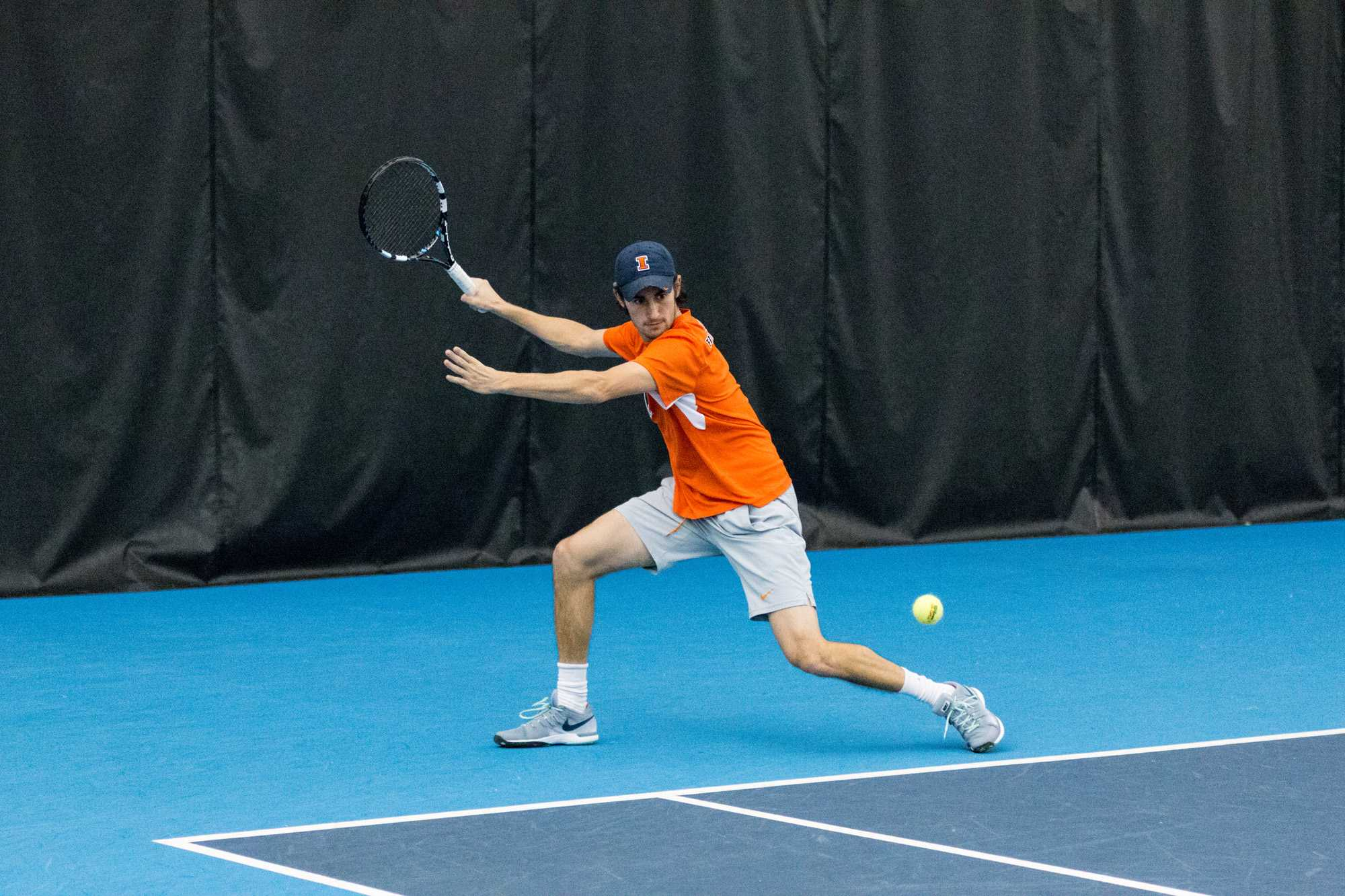 Illinois' Alex Jesse lines up the ball during the match against Notre Dame at the Atkins Tennis Center on Friday, February 5. The Illini won 5-2.