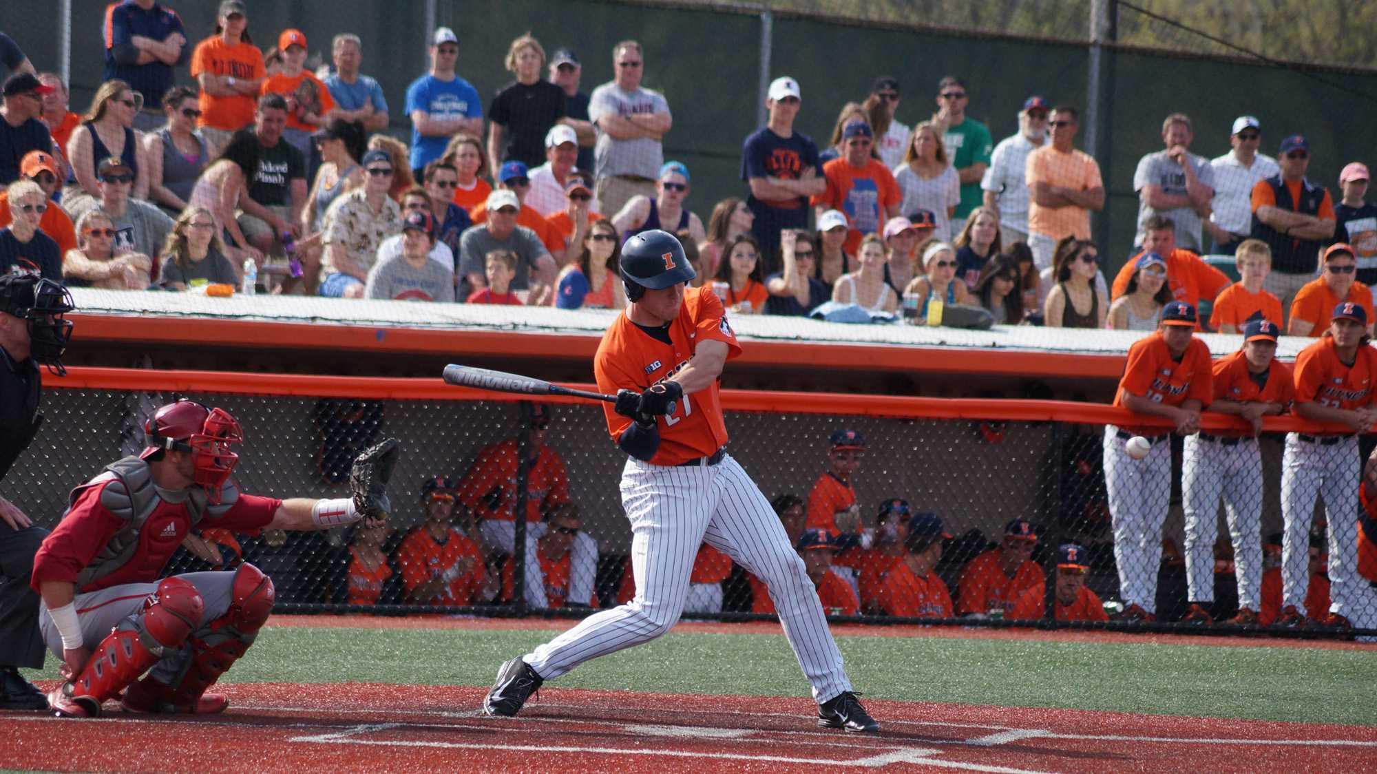 Illinois' Pat Mclnerney (27) takes a swing at the ball during the baseball game v. Indiana at Illinois Field on Saturday, Apr. 18, 2015. Illinois won 6-3.