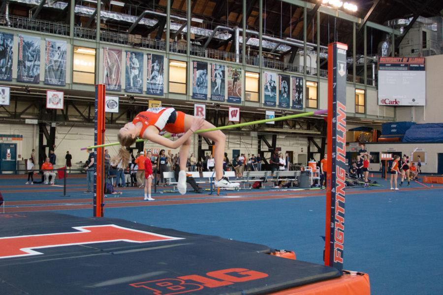 Illinois%27+Kandie+Bloch-Jones+%28Jr.%29+attempts+the+high+jump+during+the+Orange%26Blue+Meet+at+Armory+on+Saturday%2C+Feb.+20%2C+2016.