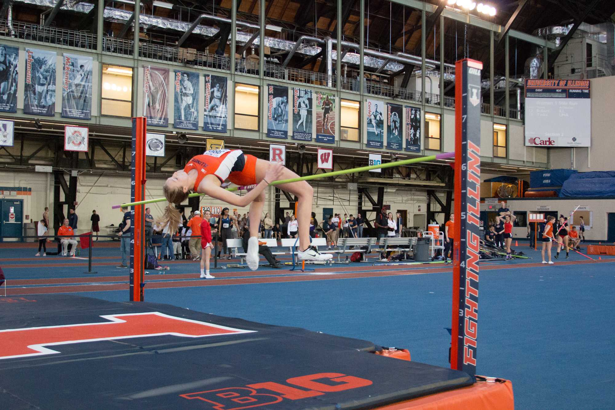 Illinois' Kandie Bloch-Jones (Jr.) attempts the high jump during the Orange&Blue Meet at Armory on Saturday, Feb. 20, 2016.