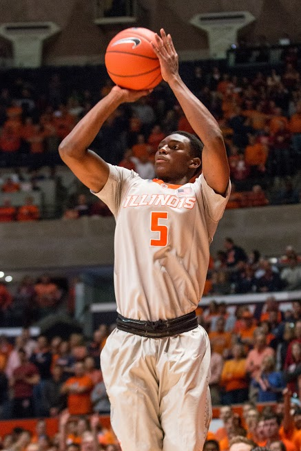 Illinois' Jalen Coleman-Lands shoots a three during the game against Indiana at the State Farm Center. Jalen made 5 three-pointersand scored 21 points.