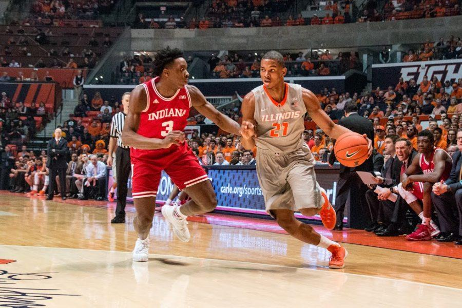 Illinois' Malcolm Hill drives to the basket during the game against Indiana at the State Farm Center. The Hoosiers held Hill to just 5 points.