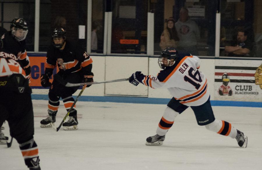 Illinois' John Olen shoots the puck at the game against Indiana Tech on Saturday, February 27, 2016.