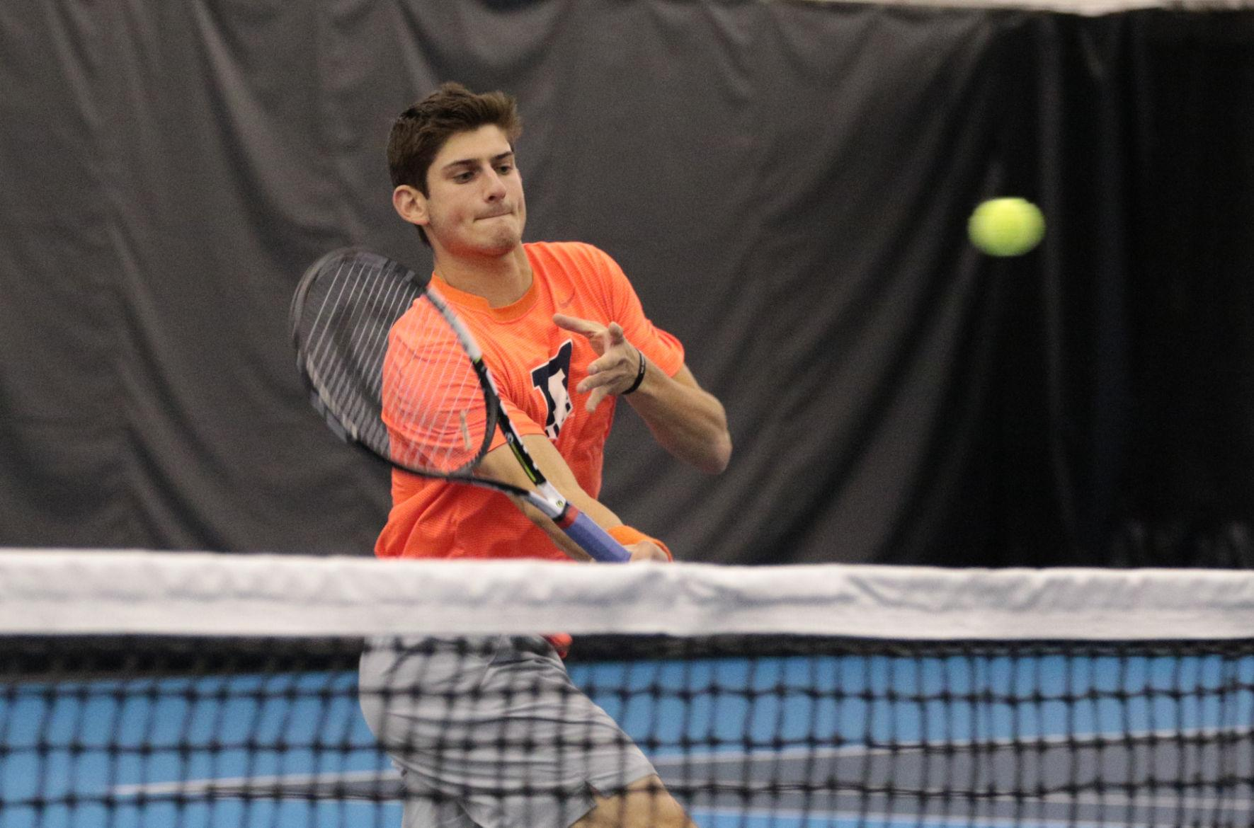 Illinois' Jared Hiltzik makes a short return during the tennis game v. Northwestern at Atkins Tennis Center on Feb. 20. Illinois won 5-2.