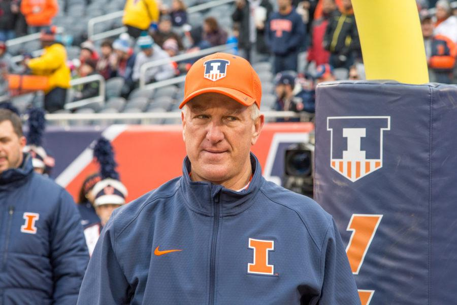 Head+coach+Bill+Cubit+watches+his+seniors+line+up+to+be+honored+on+Senior+Day+before+the+game+against+Northwestern+at+Soldier+Field+on+Saturday%2C+Nov.+28.