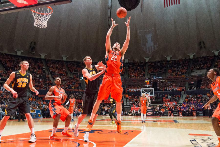 Illinois%27+Maverick+Morgan+grabs+a+rebound+during+the+game+against+Iowa+at+the+State+Farm+Center+on+February+7.+The+Illini+lost+77-65.