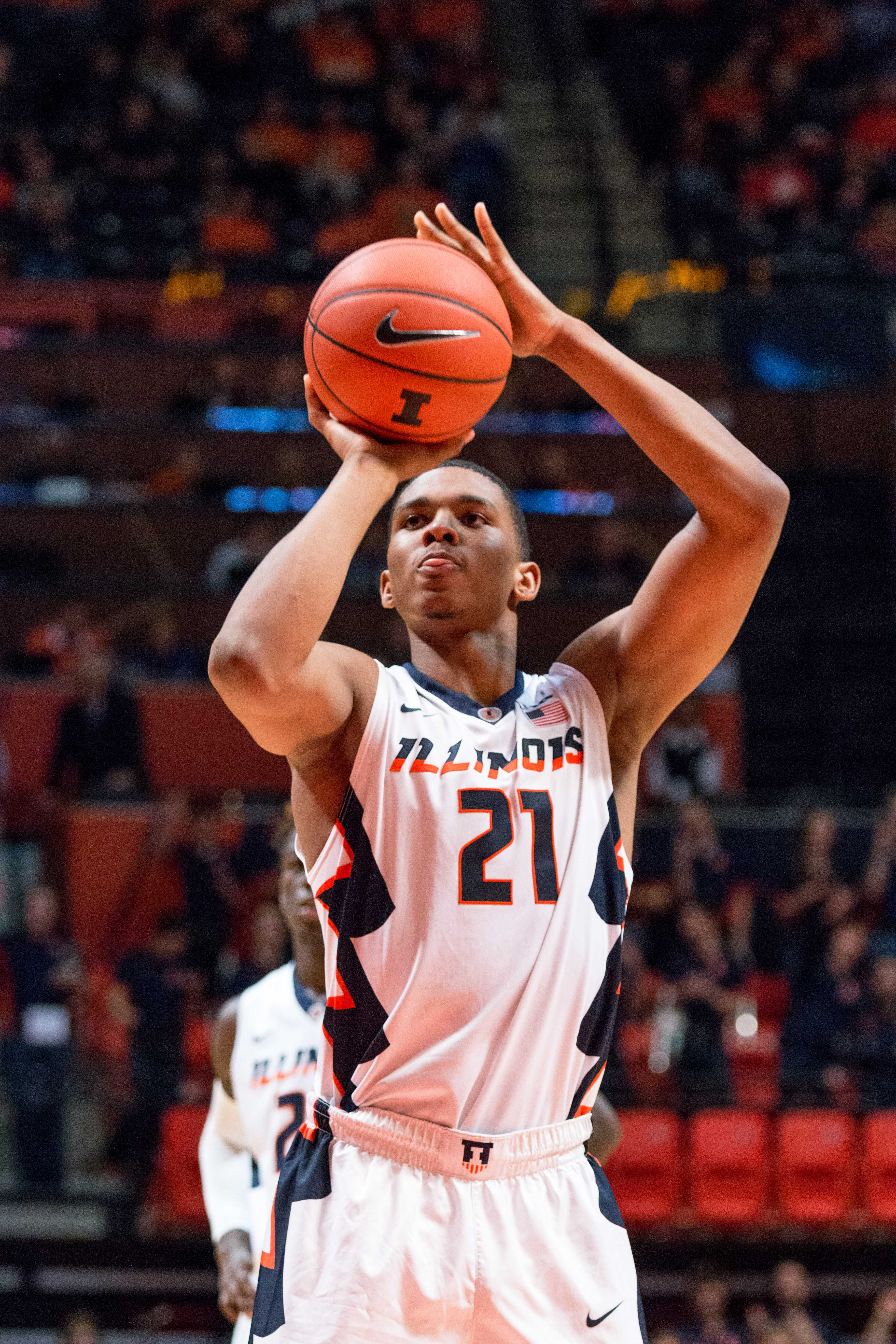 Illinois' Malcolm Hill shoots a free throw during the game against Rutgers at the State Farm Center on February 17. The Illini won 82-66.