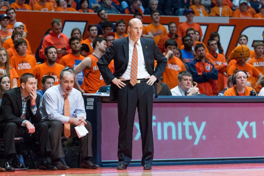 Illinois+head+coach+John+Groce+watches+his+team+from+the+sidelines+during+the+game+against+Rutgers+at+the+State+Farm+Center+on+February+17.+The+Illini+won+82-66.