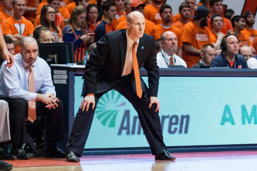 Illinois head coach John Groce watches his team from the sidelines during the game against Indiana at the State Farm Center on February 25. The Illini lost 74-47.
