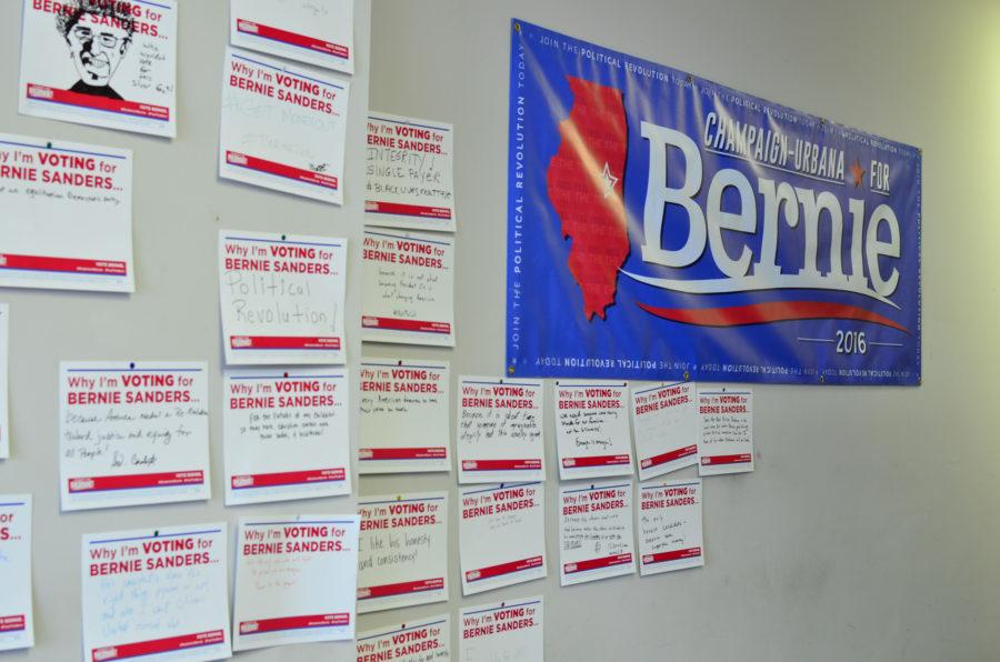 Handwritten+signs+showing+local+support+for+the+Bernie+Sanders+campaign+in+Champaign-Urbana.+