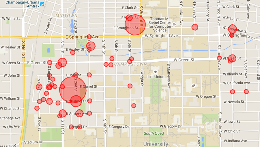 The red circles are sized proportionally to the number of incidents reported at a location during Unofficial 2015.View our interactive map here.
