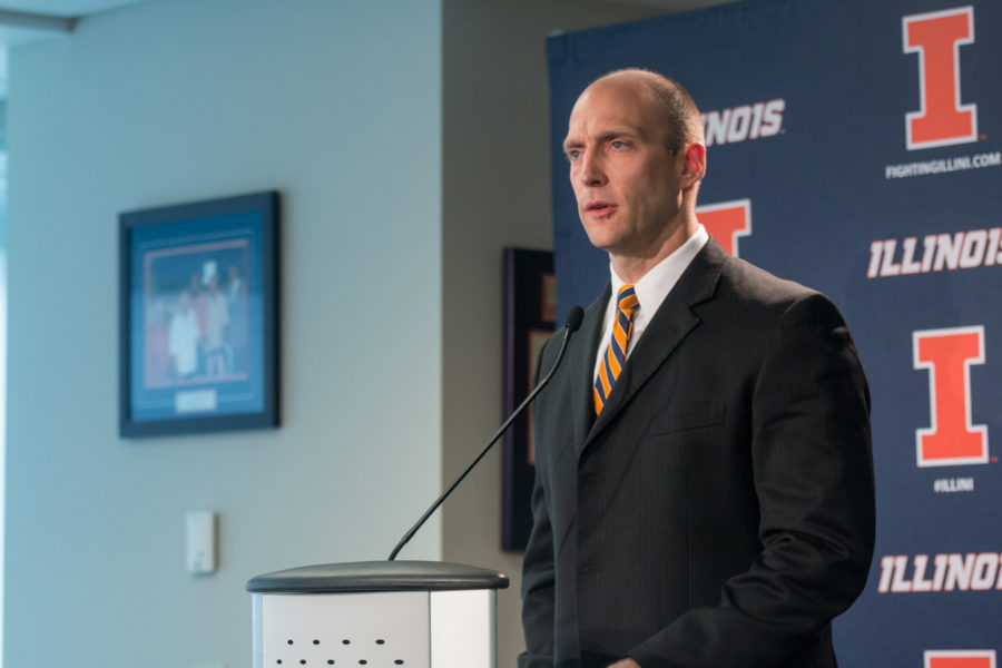 Illinois athletic director Josh Whitman speaks at the press conference regarding the dismissal of head football coach Bill Cubit.