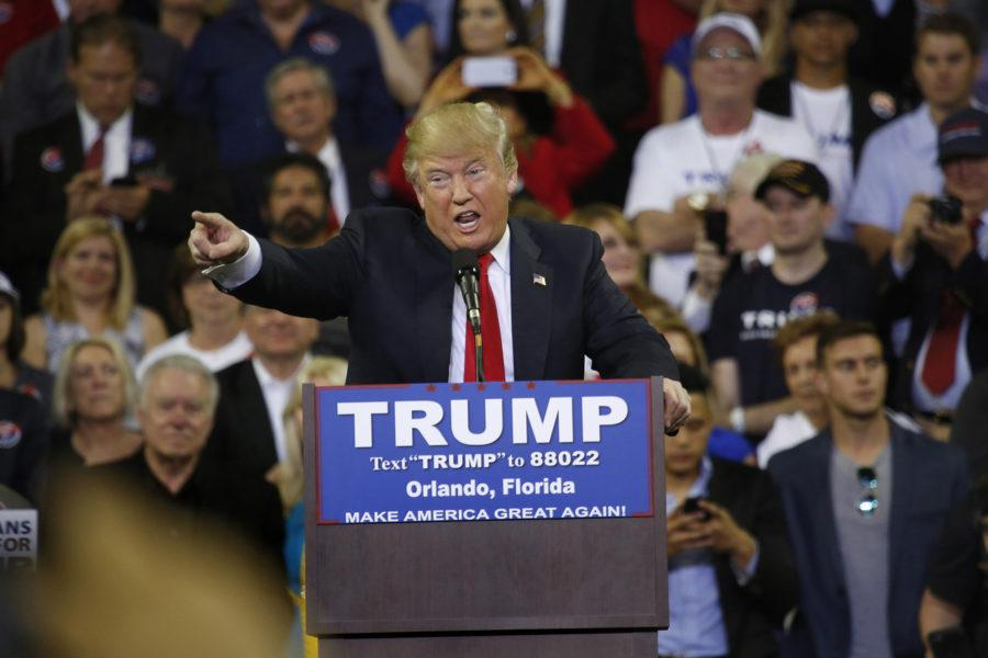 Republican presidential candidate Donald Trump on stage during his rally at the University of Central Florida, in Orlando, Fla., on Saturday, March 5, 2016. (Carolyn Cole/Los Angeles Times/TNS)