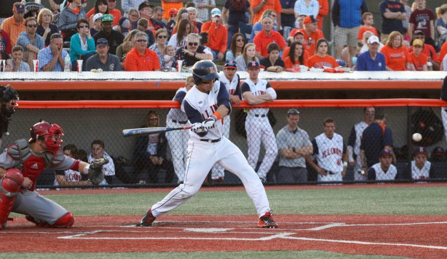 Illinois' Adam Walton (6) lines up for the swing during the baseball game v. Indiana at Illinois Field on Friday, Apr. 17, 2015. Illinois won 5-1.