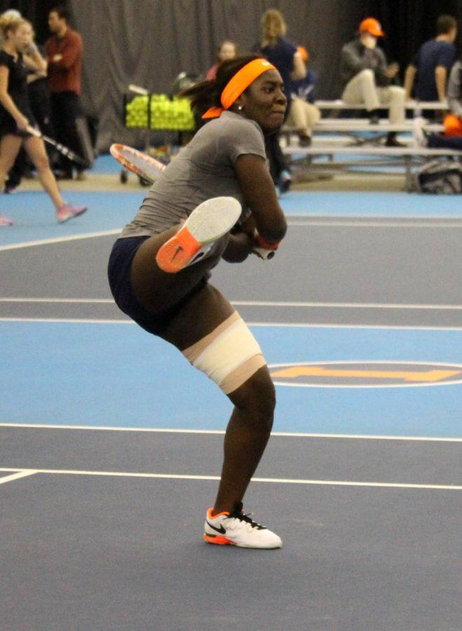 Ines Vias does a powerful one handed rally at the Atkins Tennis Center on Febrary 26, 2016 against Northwestern. Illini lost 3-4.