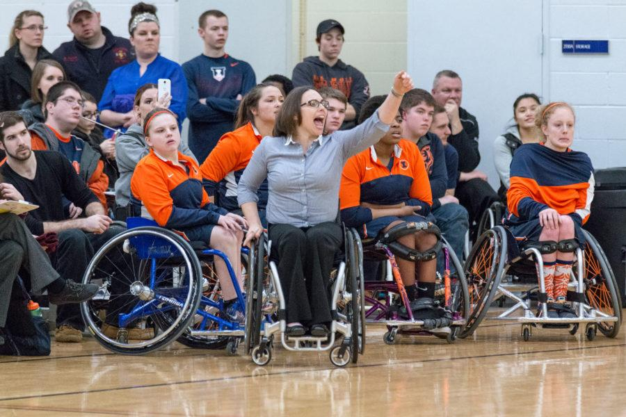 Illinois head coach Stephanie Wheeler shouts instructions to her team during the game against Alabama at the Activities and Recreation Center on Feb. 12. Wheeler's team just won gold at the 2016 Paralympics in Rio.