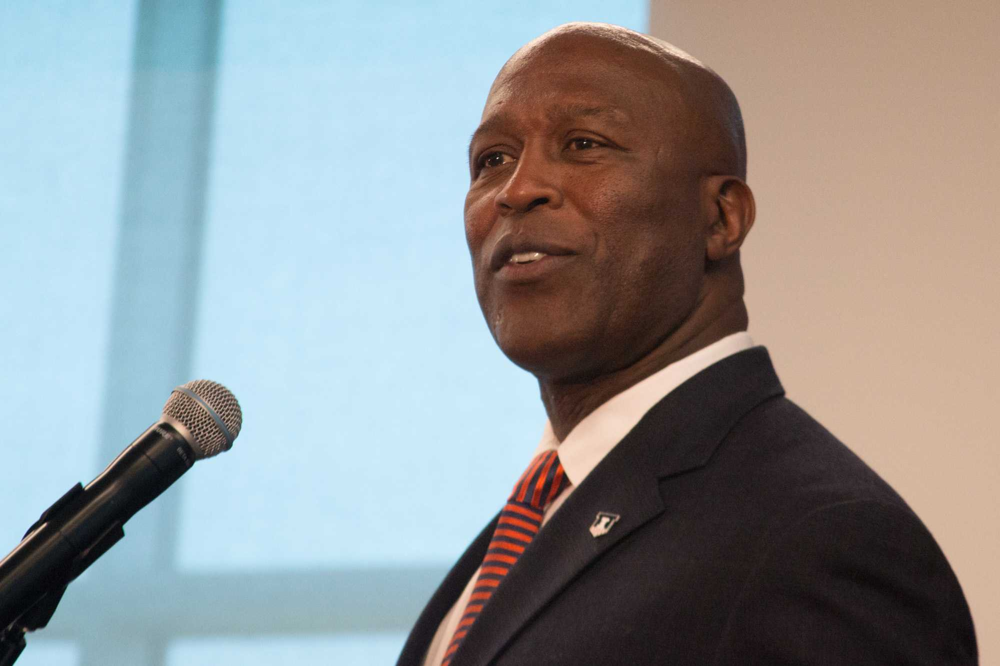 Lovie Smith responds to questions at the press conference on Monday, March 7, 2016.