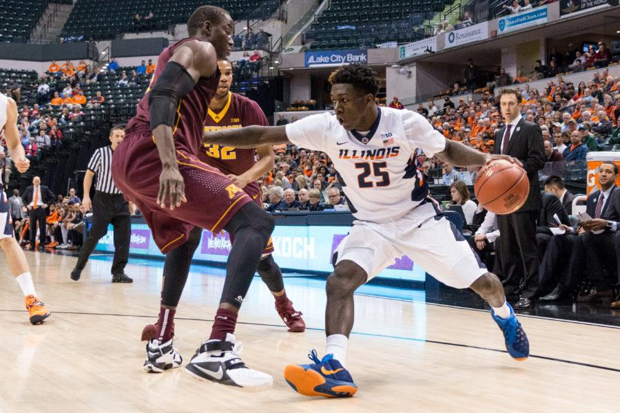 Kendrick+Nunn+and+the+Illini+got+off+to+a+good+start+in+the+Big+Ten+Tournament%2C+beating+Minnesota+85-52+in+Wednesday%27s+game.
