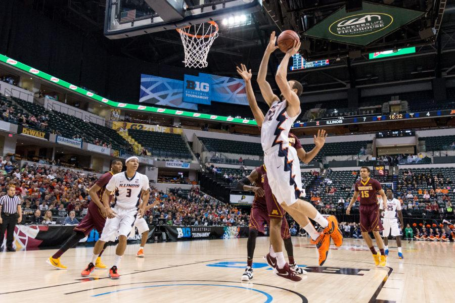 Four Illini scored in double digitsand Maverick Morgan (22) add nine in Illinois basketball's 85-52 win over Minnesota in the first round of the Big Ten Tournament.