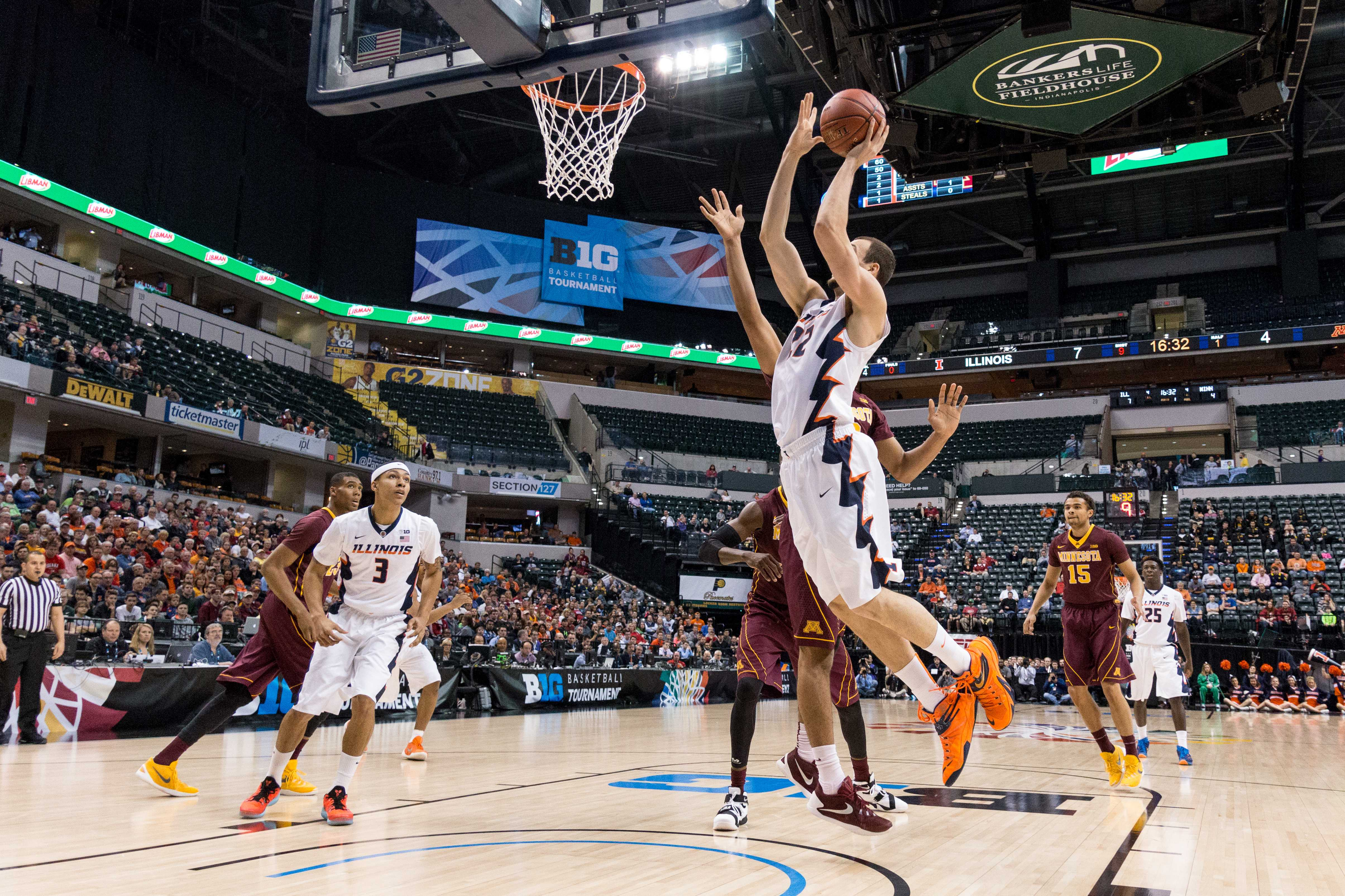 Four Illini scored in double digits and Maverick Morgan (22) add nine in Illinois basketball's 85-52 win over Minnesota in the first round of the Big Ten Tournament.