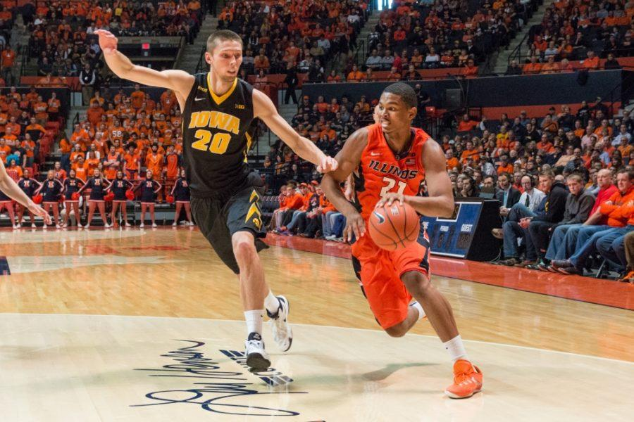 Malcolm+Hill+and+Illinois+face+Peter+Uthoff+and+Iowa+at+1%3A25+p.m.+Thursday+in+the+second+round+of+the+Big+Ten+Tournament.