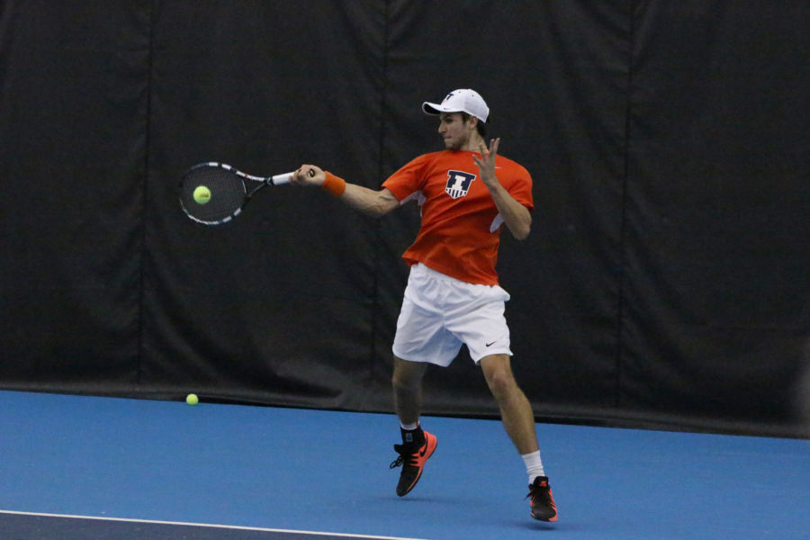 Illinois%27+Aleks+Vukic+returns+the+ball+in+the+match+against+TCU+at+the+Atkins+Tennis+Center+on+Sunday%2C+Feb.+28%2C+2016