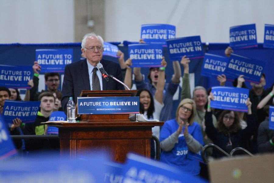 Senator Bernie Sanders addresses a gymnasium full of supporters at his rally in the Activities and Recreation Center on Mar. 12, 2016.