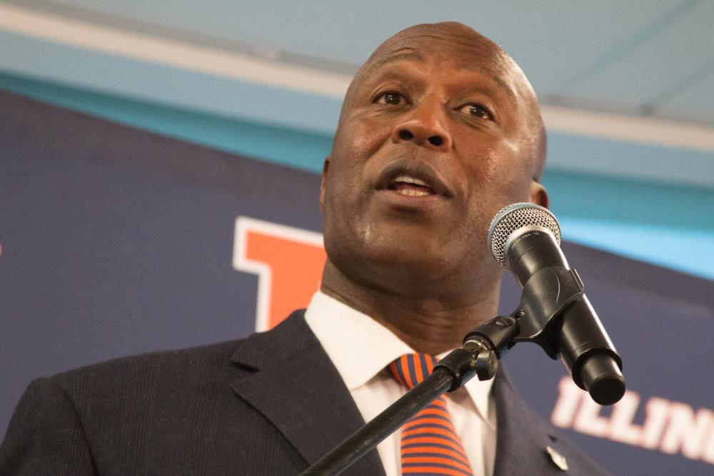 Lovie Smith at his introductory press conference