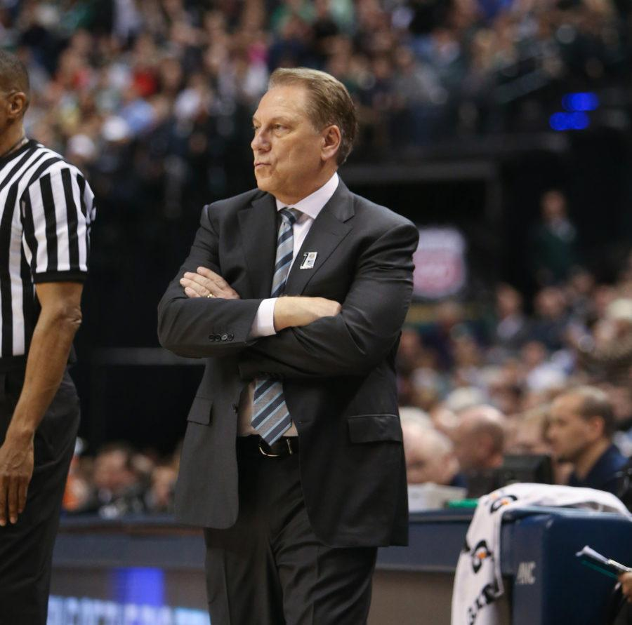 Michigan State head coach Tom Izzo watches second-half action on Sunday, March 13, 2016, at Bankers Life Fieldhouse in Indianapolis. (Kirthmon F. Dozier/Detroit Free Press/TNS)