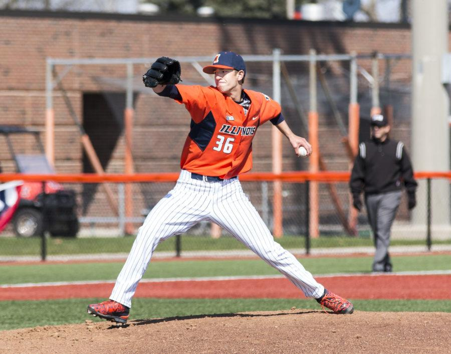 Illinois starting pitcher Doug Hayes delivers a pitch during game one of the team's doubleheader against Penn State on Saturday, March 26. Hayes threw the first Illini one-hitter since 2007.