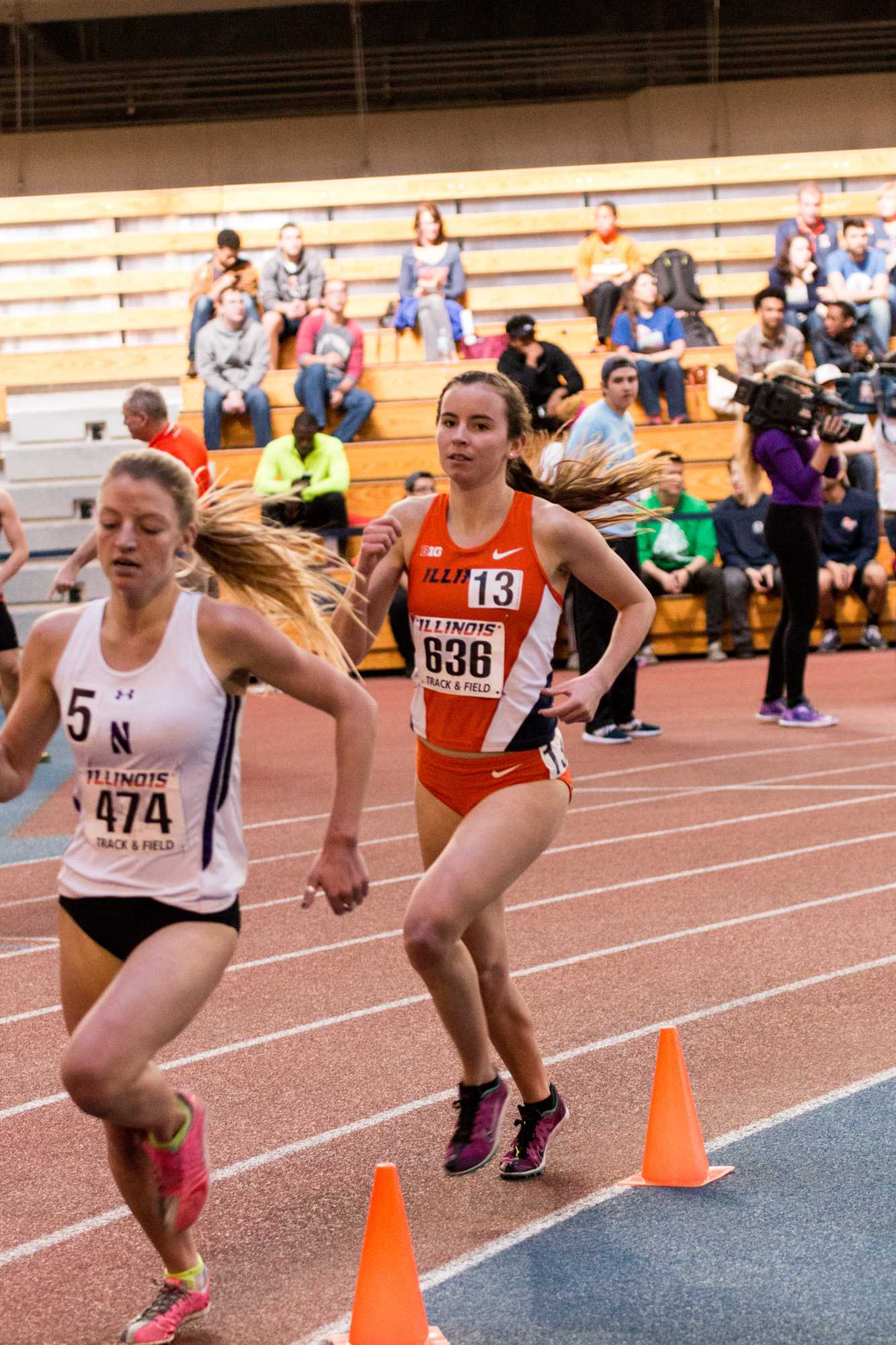 Illinois' Valerie Bobart competes in the 1 mile run during the Orange and Blue meet on Saturday, February 20, 2016. Valerie placed 9th in the mile with a time of 5:08.32.