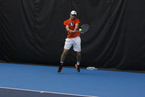 Illinois' Aleks Vukic returns the ball in the match against TCU at the Atkins Tennis Center on Sunday, Feb. 28, 2016