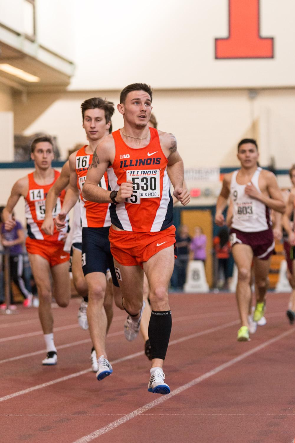 Illinois' Dylan Lafond competes in the 3000 meter run during the Orange and Blue meet on Saturday, February 20, 2016.