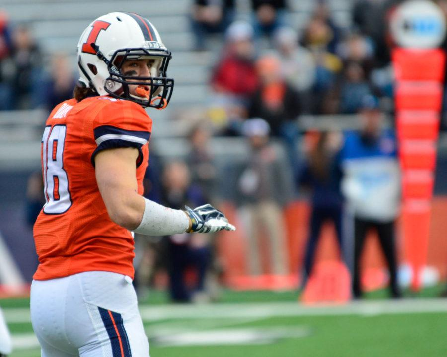 Illinois' Mike Dudek looks to the bench during the game against Penn State at Memorial Stadium on Nov. 22, 2014. Dudek missed the 2015 season with a torn ACL.