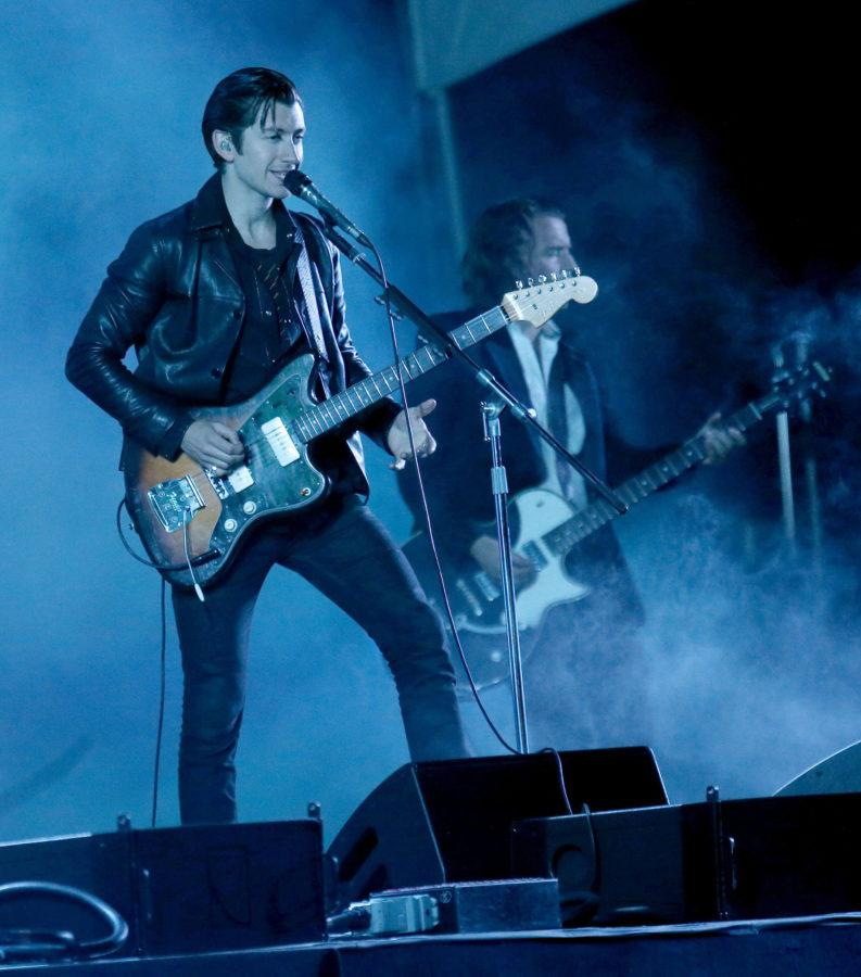 Arctic Monkeys lead vocalist Alex Turner performs during day one of the Outside Lands music festival at Golden Gate Park in San Francisco on August 8, 2014. The festival runs through Sunday. (Jane Tyska/Bay Area News Group/MCT)