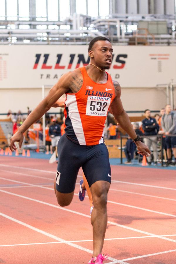 Illinois' Molefi Maat runs the 60 meter dash during the Orange and Blue meet on Saturday, February 20, 2016. Molefi won the 60 meter dash with a time of 6.84 seconds.
