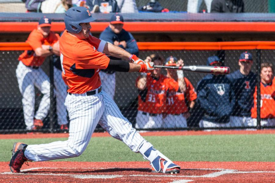 Illinois%E2%80%99+Jason+Goldstein+hits+a+solo+home+run+to+left+field++during+game+one+of+the+team%27s+doubleheader+against+Penn+State+at+Illini+Field+on+Saturday%2C+March+26.+The+Illini+won+game+one+6-1+and+lost+game+two+5-3.