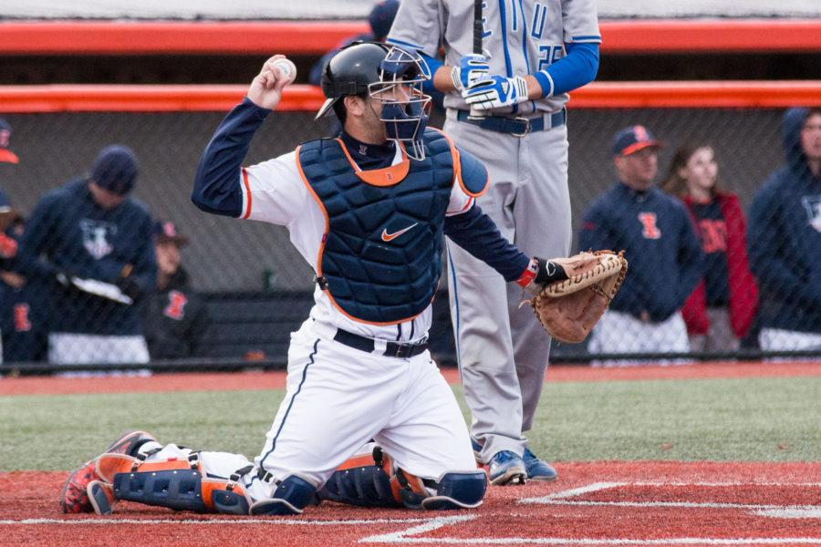 Illinois+catcher+Jason+Goldstein+throws+the+ball+back+to+starting+pitcher++Quinten+Sefcik+during+the+game+against+Eastern+Illinois+at+Illini+Field+on+Tuesday%2C+April+5.+The+Illini+won+9-7.