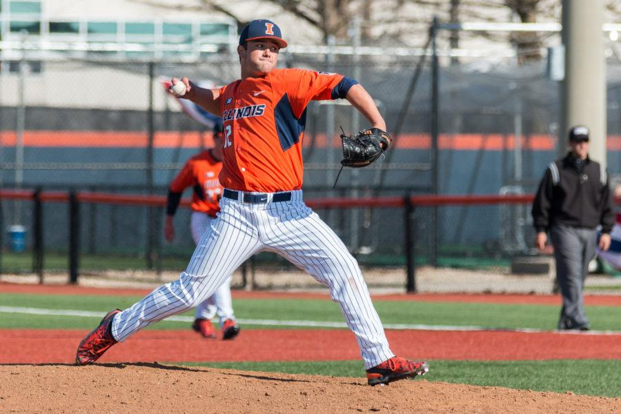 Illinois starting pitcher Cole Bellair delivers the pitch during game three of the series against Penn State on Saturday, March 26. The freshman pitched 8 innings and only giving up one run on six hits in the Illini's 5-3 loss.