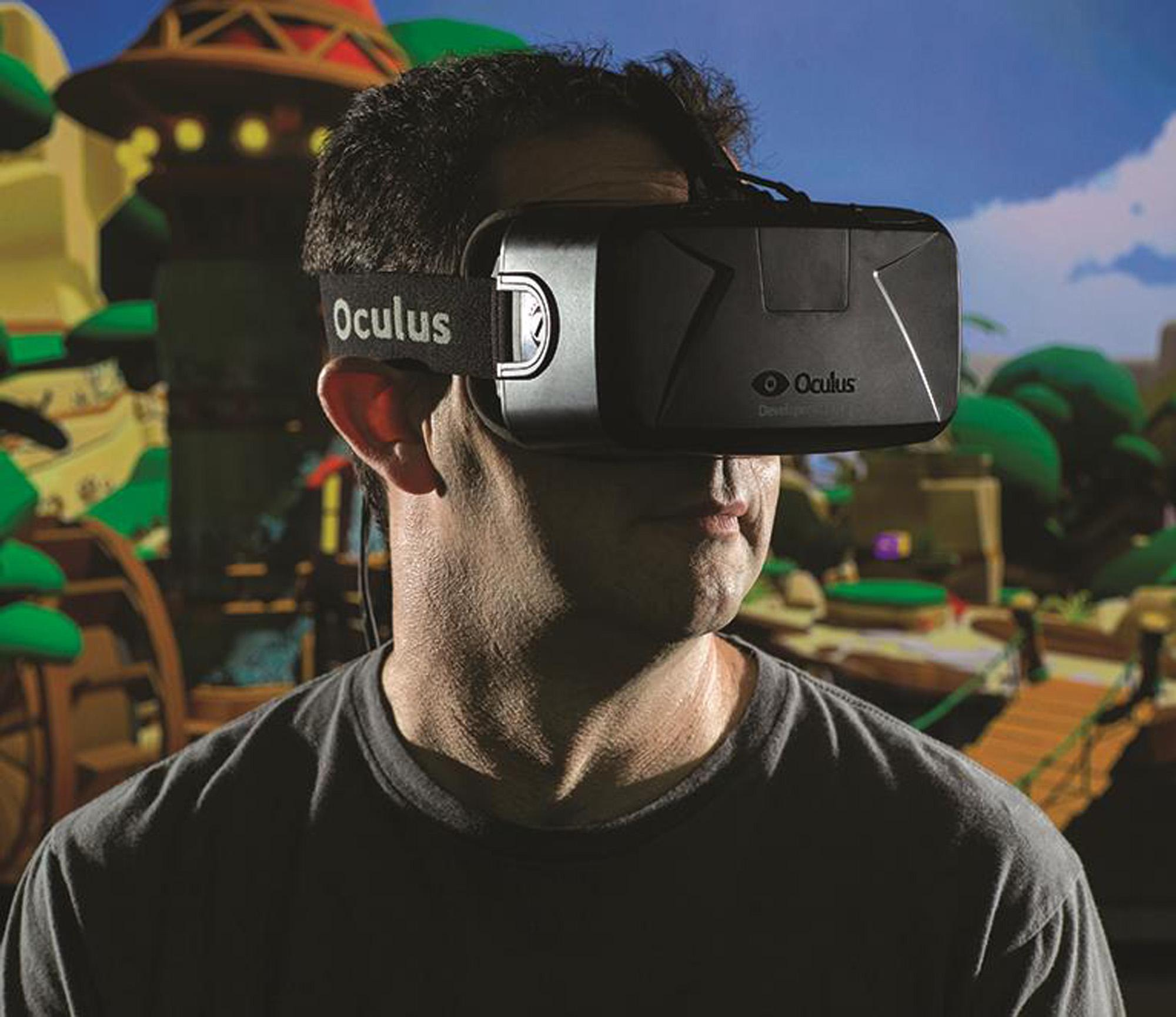 Professor Steve LaValle wears an Oculus Rift headset.