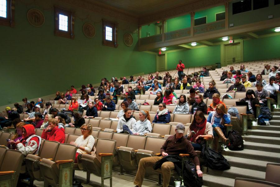 Students listening to a lecture in a Community Health class in Lincoln Hall