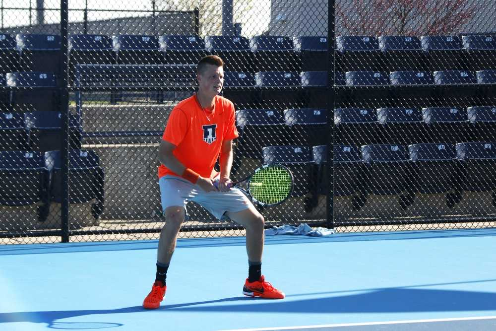 Illinois' Brian Page (Sr.) waits to hit the ball back during the game against Michigan State at Atkins Tennis Center on Friday, Apr. 15, 2016. The Illini won 4-0.