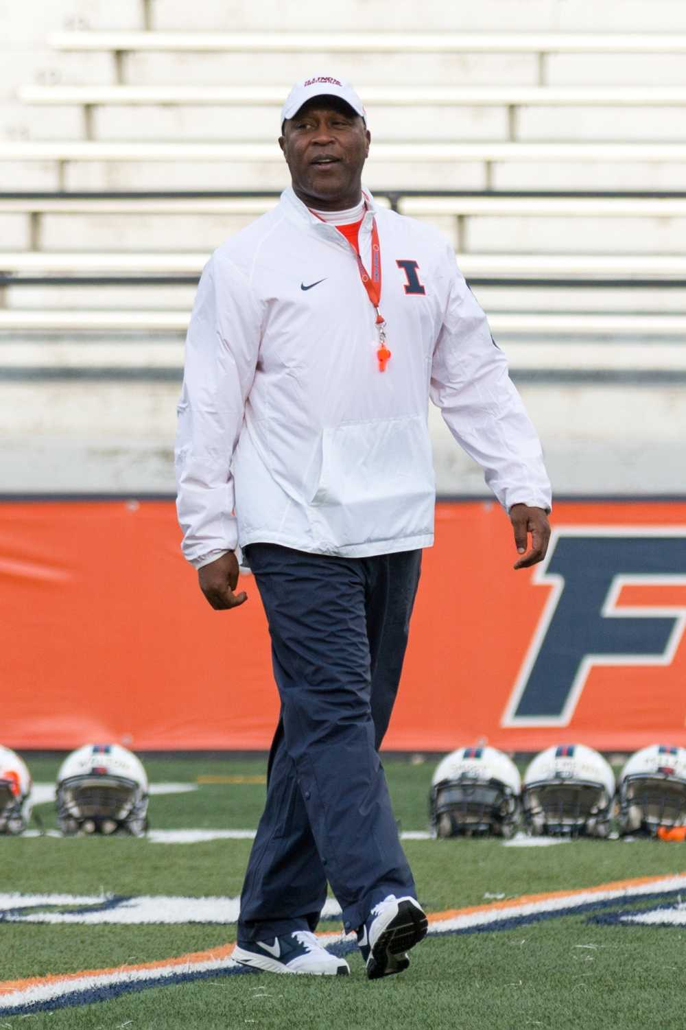 Lovie Smith supervises the first spring practice of the season on April 1st, 2016.