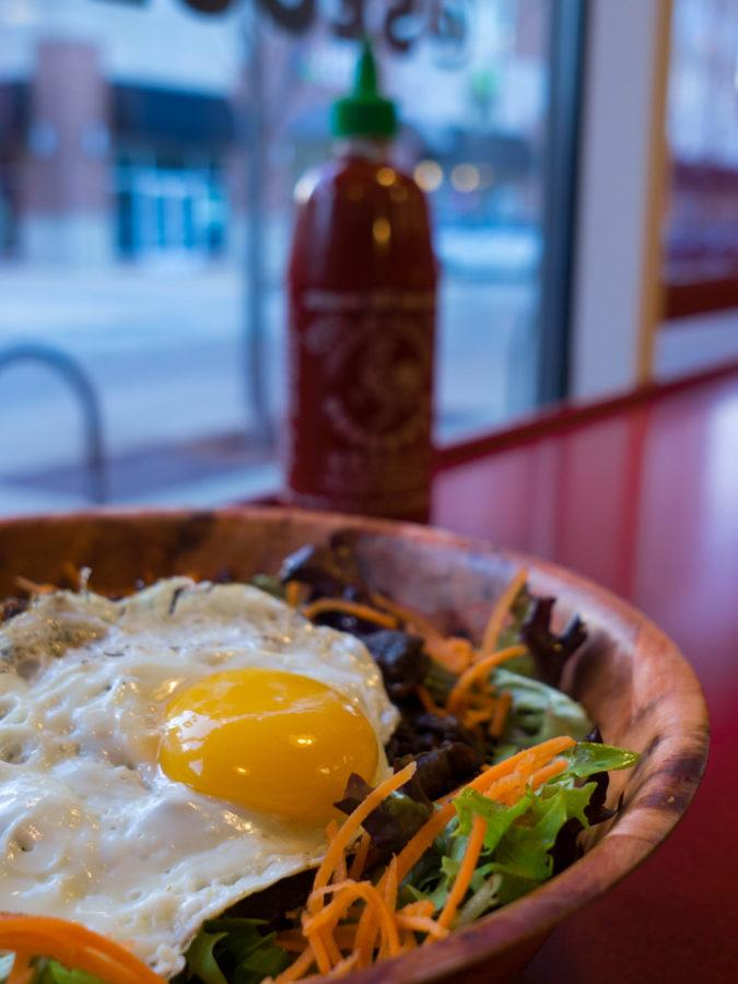 Seoul Taco's popular steak gogi bowl can be found in Champaign, IL.