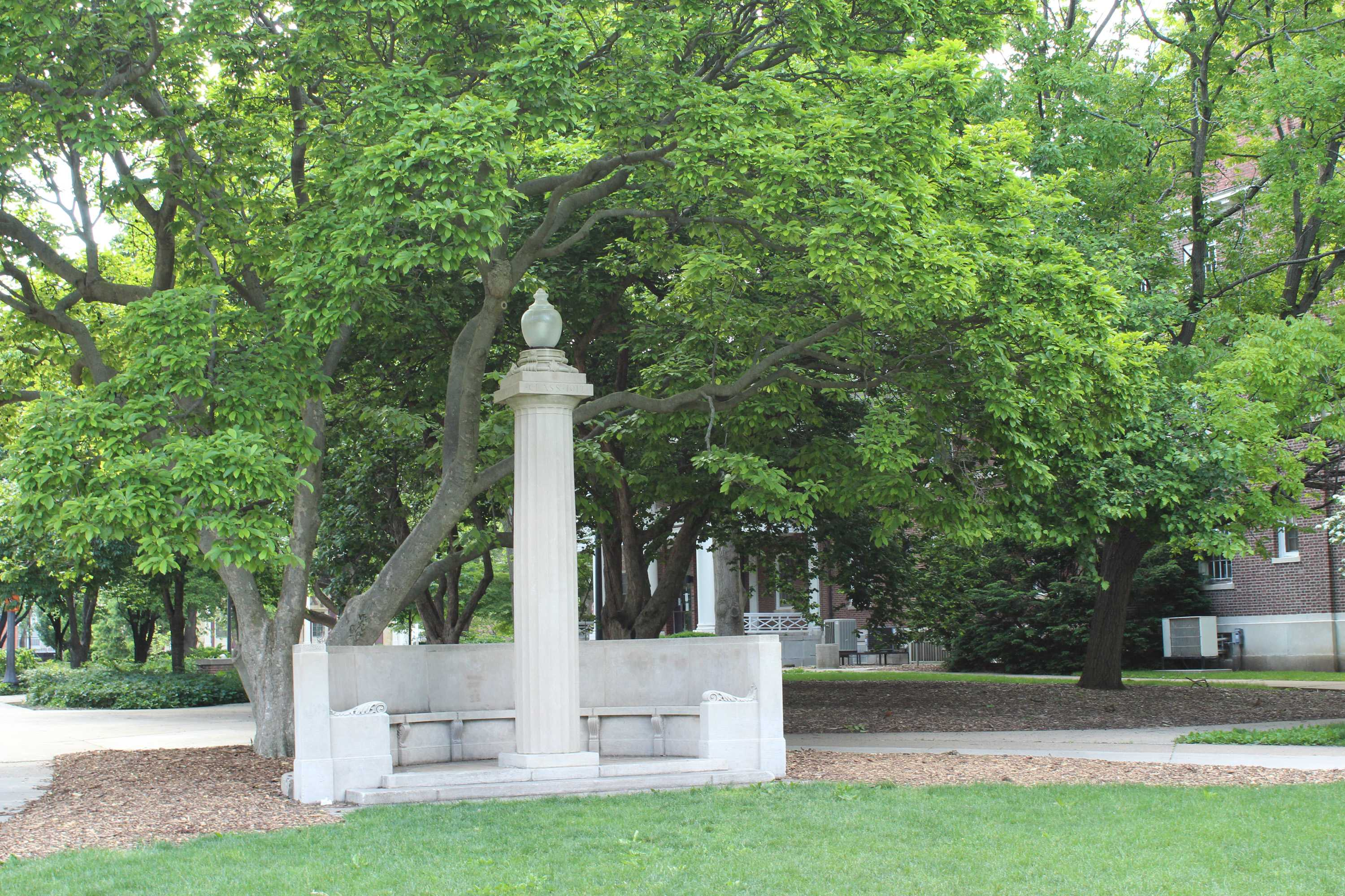 The Eternal Flame, located on the western side of the Main Quad between Lincoln Hall and the English Building. The Eternal Flame is just one of many campus landmarks with an interesting backstory.